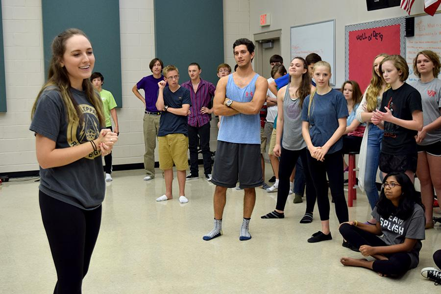 Senior Mary Shae Lancaster directs students at the musical dance workshop on Sept. 29.