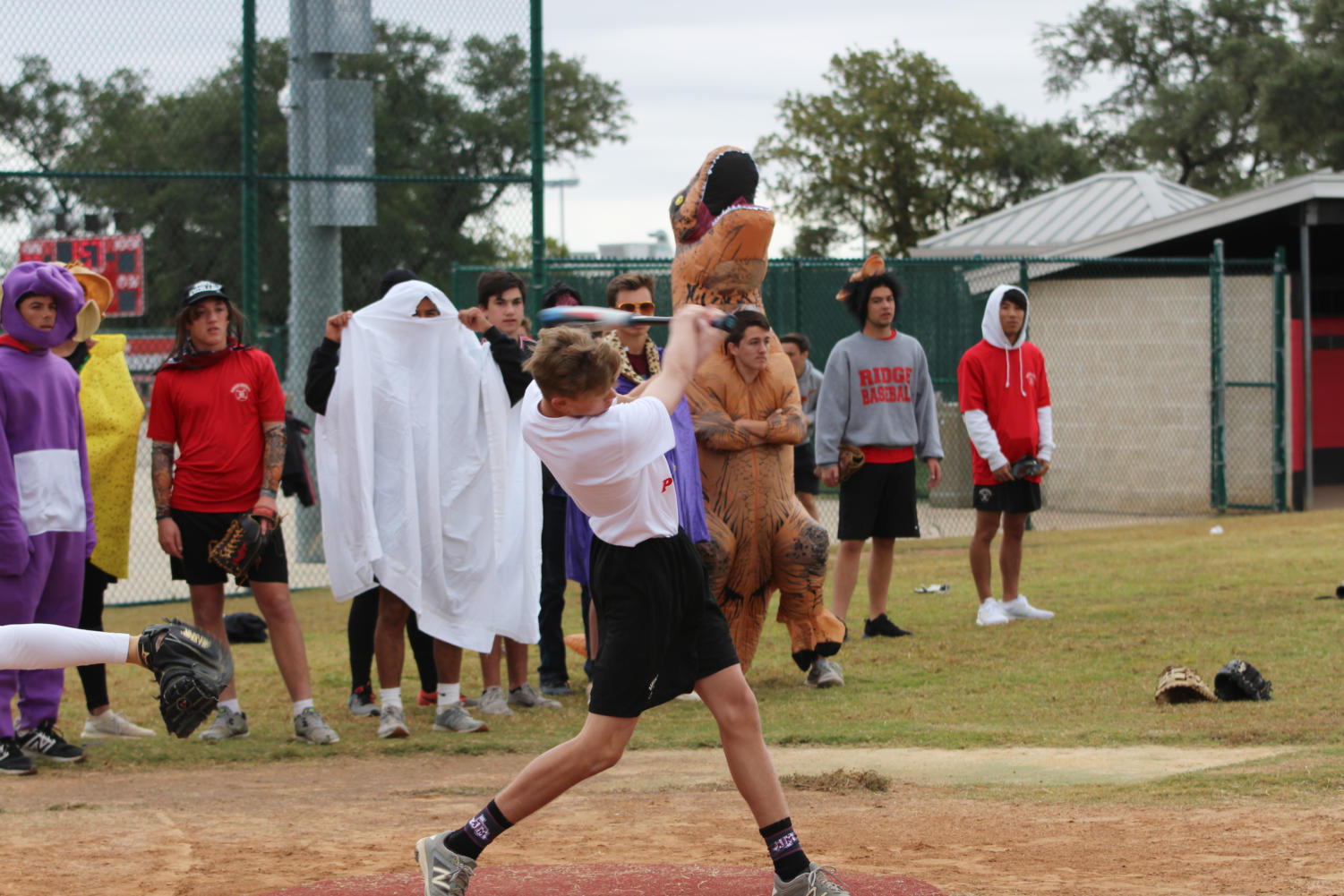 Second period baseball scrimmages in costume on Halloween.