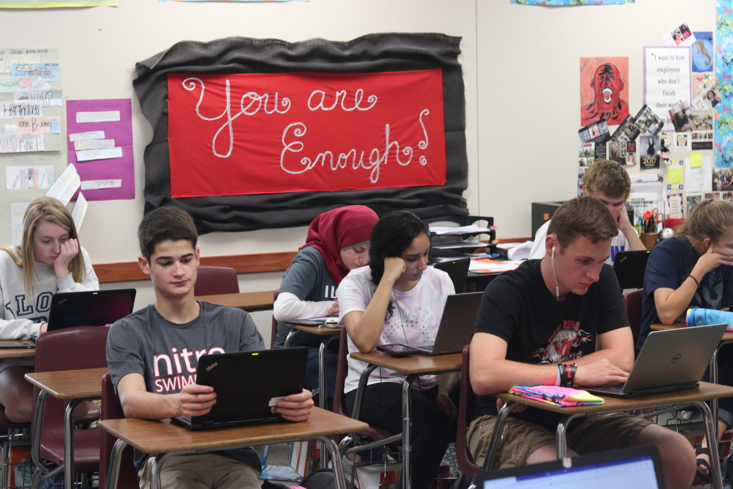 Students prep for PSAT in Susan Sitran's third period class.