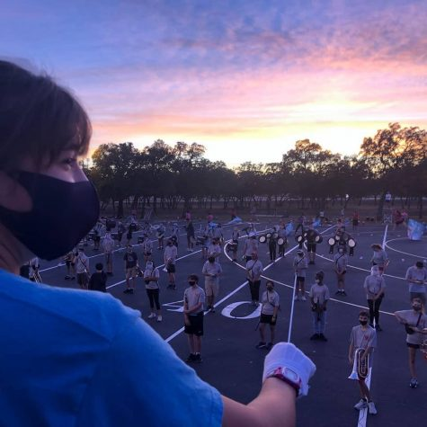 Head Drum Major Leads Band While Navigating Changes